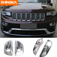 SHINEKA Chromium Styling For Jeep Grand Cherokee 2014 2016 ABS Front Fog Lamp Frame Cover Sticker For Grand Cherokee Accessories