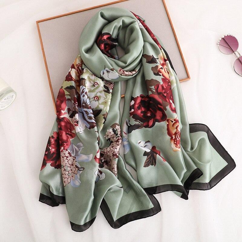 2019 Fashion Women 100% Pure Silk   Scarf   Female Luxury Brand Print Paisley Floral Foulard Shawls and   Scarves   Beach Hijab 180*90Cm