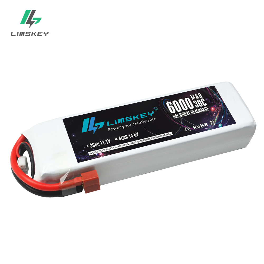Limskey Power 11.1V 6000mAh 30C MAX 60C 3S Lipo Battery Bateria For Drone Quadcopter Helicopter RC Car zop power rc lipo battery 3s 11 1v 900mah 30c max 60c jst plug for rc quadcopter drone helicopter car airplane