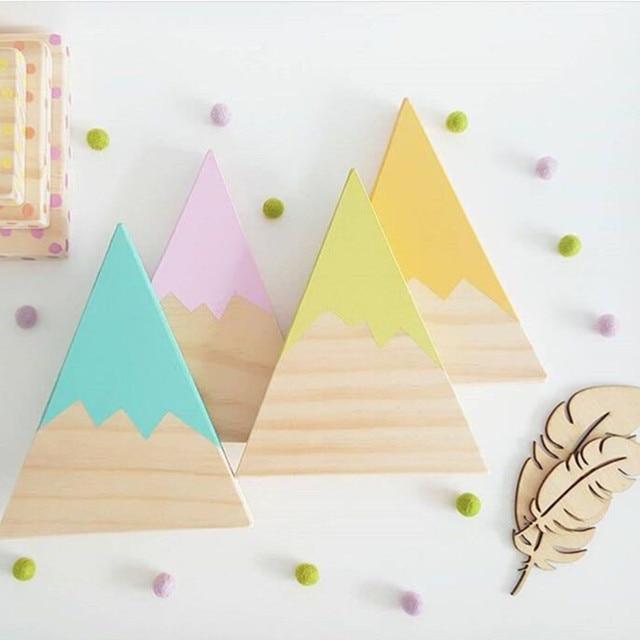 Nordic Top Woodland Wood Mountain Decorative Handmade Kids Bookends Home Decor Wooden Mountain Children's Room Decoration Blocks