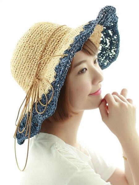 Summer Large Brim Women Crochet Sun Hat Straw Cutout Folding Floppy Beach  Caps Patchwork Female SCCDS cd28af81061a