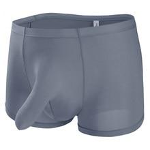 27dc527ff Roupa interior Dos Homens Grandes Do Nariz Do Elefante Bulge bolsa Boxer  Shorts de Seda Gelo