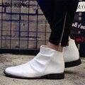ЛИН КОРОЛЬ Мужчины Сапоги Острым Носом Квадратный Каблук Ботильоны мода Высокой Крышей мужская Партия Обуви Высокого Качества Кожа Случайные обувь