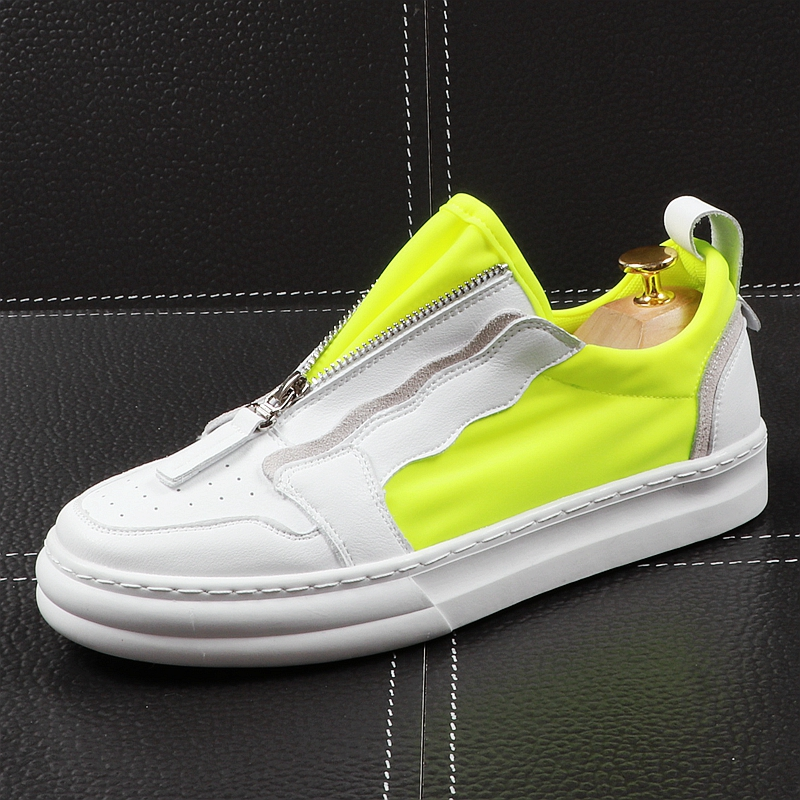 CuddlyIIPanda الرجال أحذية خفيفة أنيقة الصيف الهواء شبكة تنفس سميكة أسفل رياضية الشباب الإمالة الترفيه سستة الأحذية-في أحذية رجالية غير رسمية من أحذية على  مجموعة 1