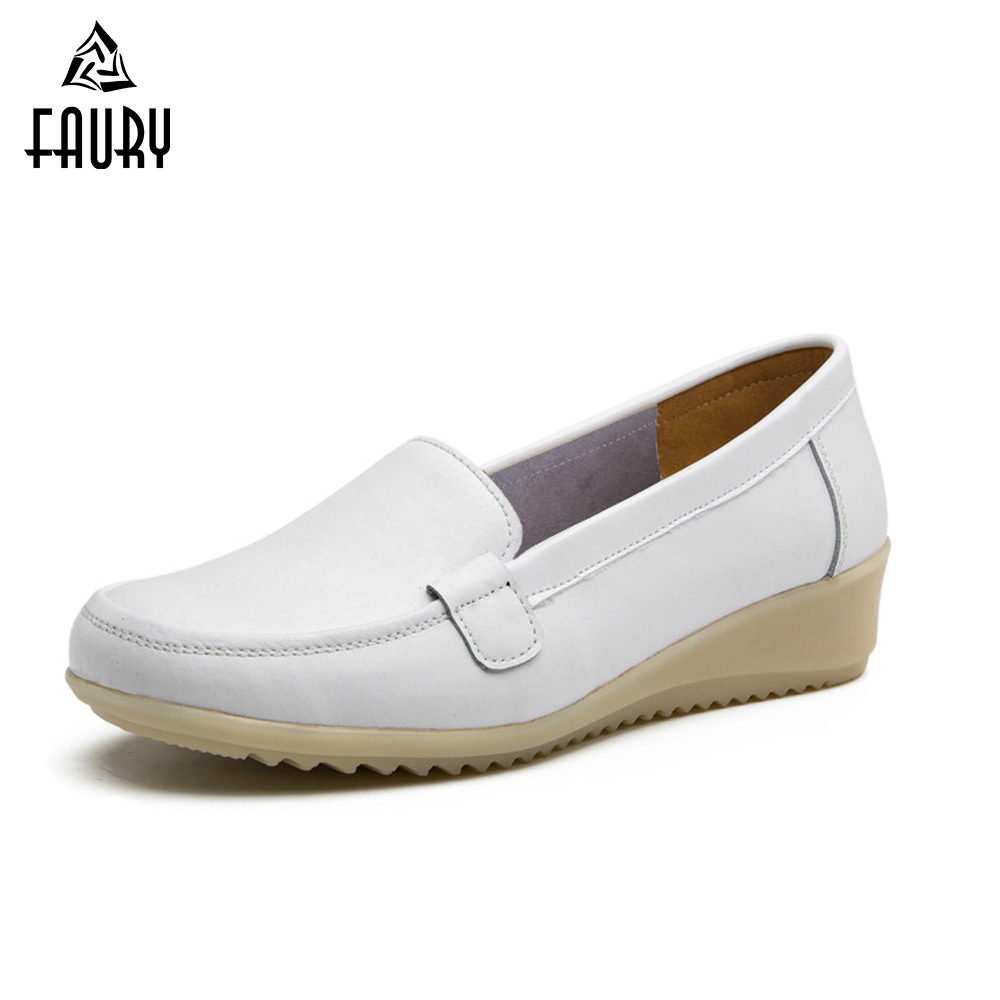 Nurse Shoes Summer Hospital Slope With Flat Non-slip Leather Tendon Soft Bottom Female White Work Shoes Medical Accessories