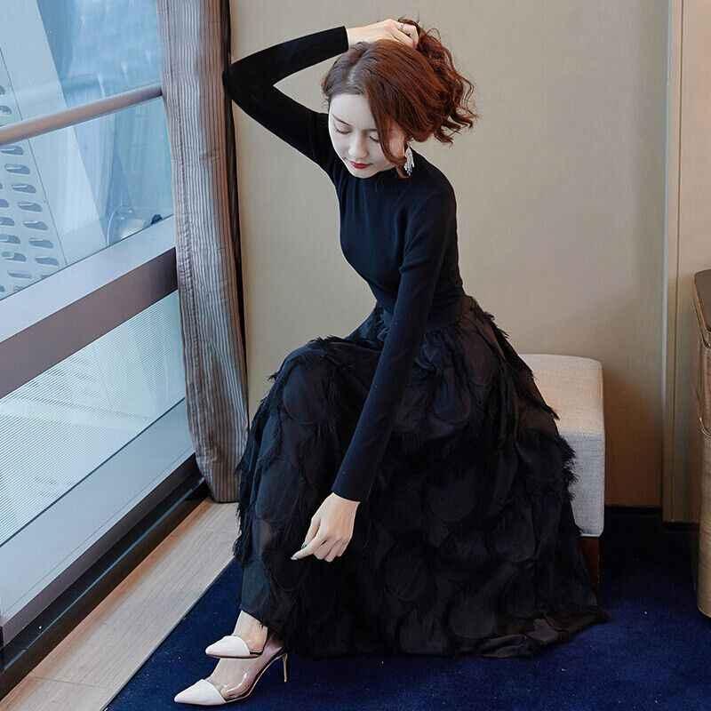 Весенне-осенний женский спортивный костюм высокого качества, Женский вязаный свитер + длинная юбка, комплект из 2 предметов, женская тонкая одежда, комплекты одежды F173