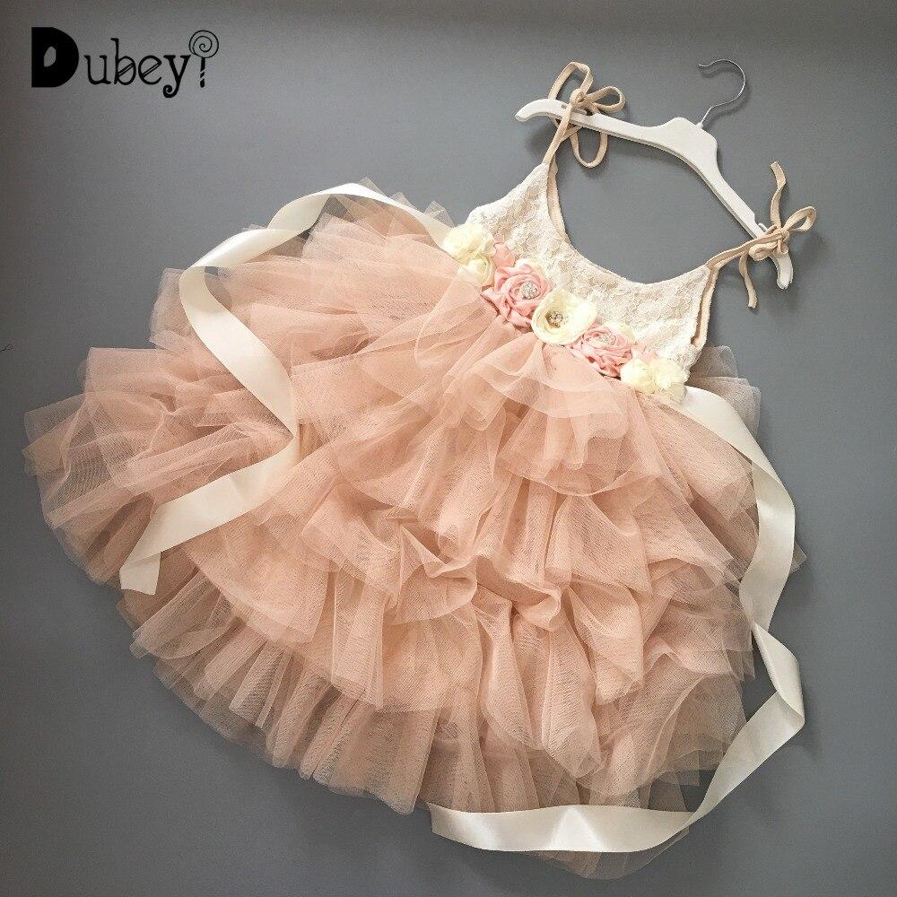 Girl maxi long gauze dress with flowers sashes kids sling tutu beach dress birthday party elegant champagne evening dress