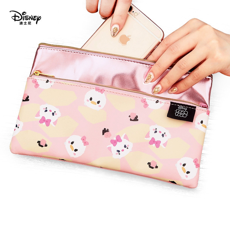 Disney TSUM TSUM Portable Cosmetic Make Up Bag Multi-purpose Storage Coin Cartoon Purse Stitch Makeup PU Leather