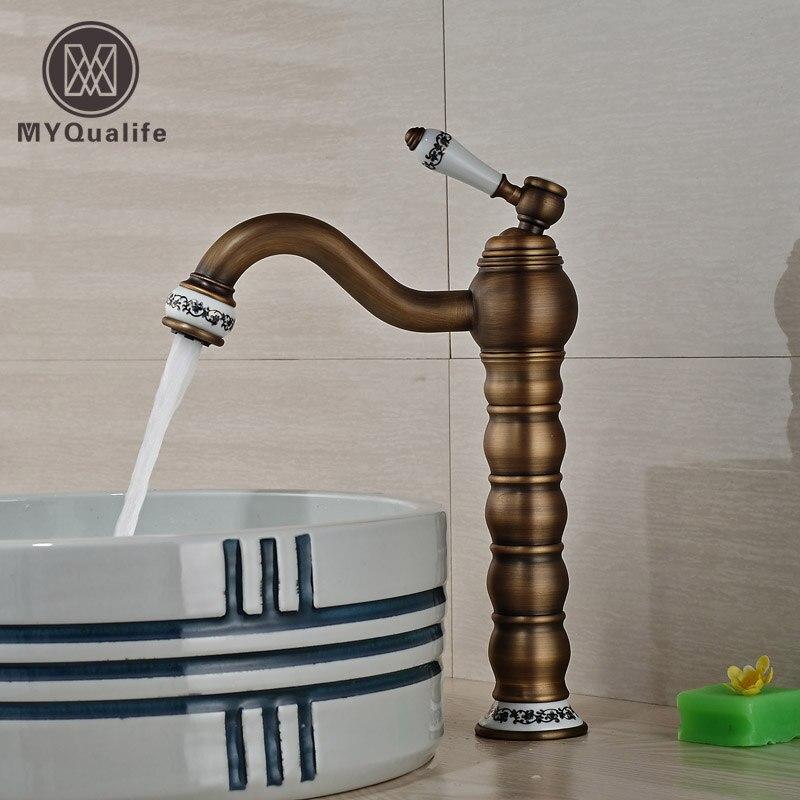 Brass & Ceramic Antique Bathroom Kitchen Basin Faucet  Single Handle Vessel Sink Mixer Taps antique brass dual cross handles swivel kitchen bathroom sink basin faucet mixer taps anf003