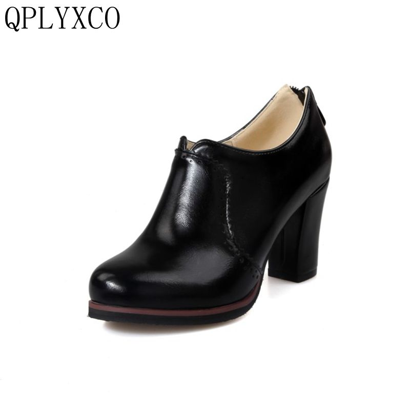 QPLYXCO 2017 Sale New Retro Big size 32-48 women high heels shoes ladies fashion pumps round toe Party dance wedding shoes 07-1 qplyxco 2017 new sale ladys big size 30 47 shoes women pumps fashion sexy high heels shoes party wedding pointed toe shoes a 3