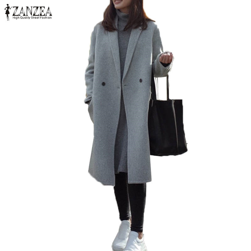 ZANZEA Oversized Women Lapel Neck Long Sleeve Pockets Buttons Solid Winter Long Outwear Elegant OL Gray Wool Blend Coat Jacket sophisticated style lapel ripple buttons long sleeve coat for women