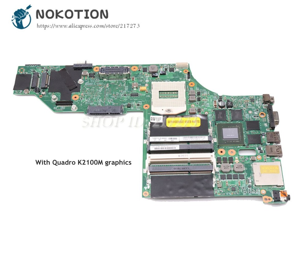 NOKOTION For Lenovo ThinkPad W540 Laptop Motherboard 15.6 Inch HD4600 Quadro K2100M graphics 04X5301 04X5293 48.4LO13.021