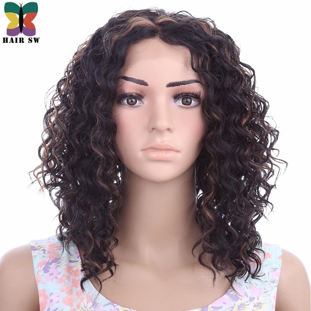CAPELLI SW Medio Riccio crespo Kanekalon parrucche Anteriori Del Merletto Sintetico Capelli Fuori Afro Rame Highlight Blonde Freestyle Per Afro Donne