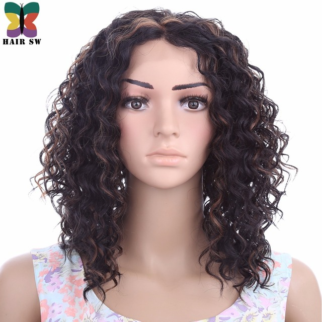Hair Sw Medium Kinky Curly Kanekalon Lace Front Wigs Synthetic Hair