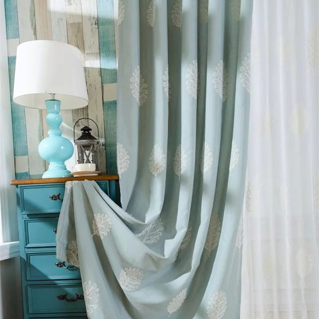 ᗗ[Slow Soul]Leaves Embroidered Curtains Cortinas Para Sala De