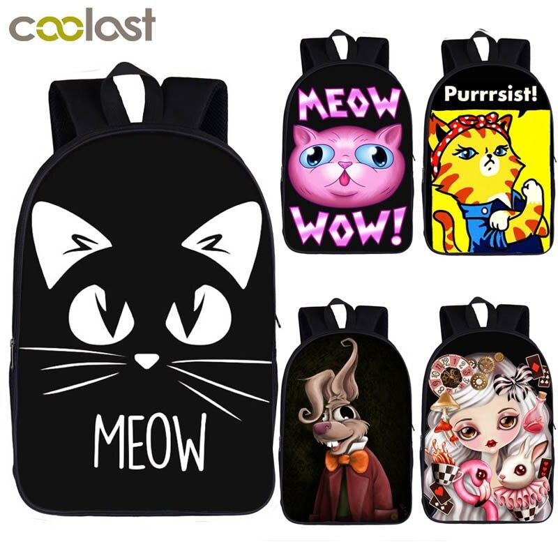 cute meow cat print backpack for teenager girls children school bags funny  rabbit bunny backpack women daypack kids shoulder bag 086b15c1c45a3