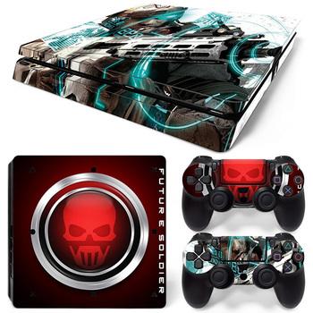 For Sony Playstation 4 Slim Console Skin + 2 Controller Decal Skins PS4 Slim Sticker Game Accessories