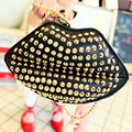 New & Hot ! 2015 female bags fashion rivet bag chain women messenger bags lip bag handbags free shipping