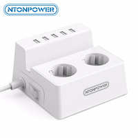 NTONPOWER Power Socket 2 AC Outlets Extension Socket 5USB Charger EU Power Plug Surge Protector for Xiaomi iphone Home Applianc