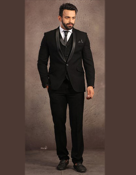 One Buttons Man Suit Black Wedding Suit For Man Clothes 2018 Groom Tuxedos Groomsman Suit Custom Made Man Suit (jacket+pants+ves