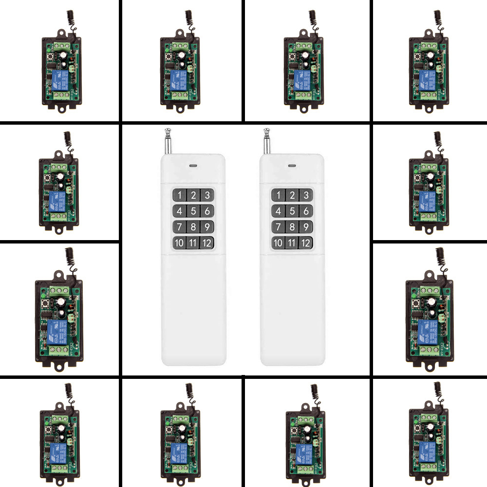 3000m DC 9V 12V 24V 1 CH 1CH RF Wireless Remote Control Switch System,315/433.92 2X Transmitters + 12 X Receivers,Jog/Toggle ac 85v 250v 1ch rf wireless remote control switch system 1 transmitters