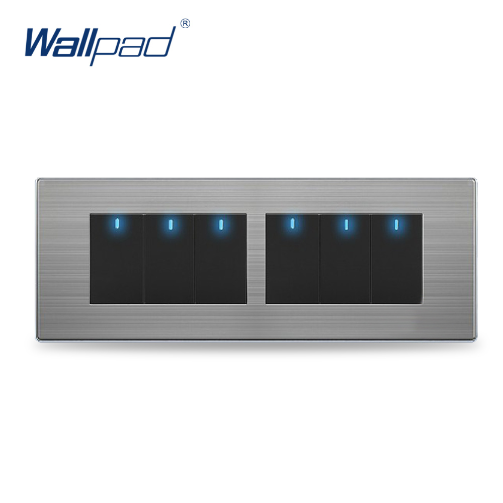 Wall Light 6 Gang 2 Way Switch Hot Sale China Manufacturer Wallpad Push Button One-Side Click LED Indicator Luxury hot sale wallpad luxury 45a wall switch goats brown leather air condition push button 45a wall switch with led free shipping