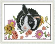 The little rabbit in flowers cross stitch kit 18ct 14ct 11ct count printed stitching embroidery DIY handmade needlework plus