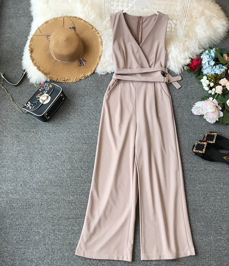 ALPHALMODA 2019 Spring Ladies Sleeveless Solid Jumpsuits V-neck High Waist Sashes Women Casual Wide Leg Rompers 40