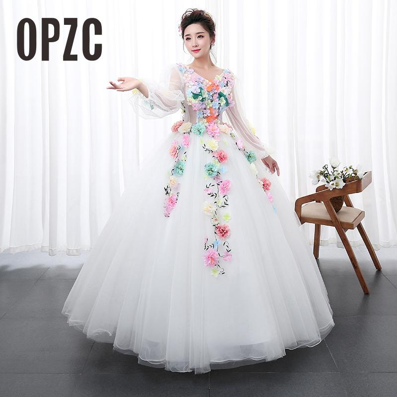 White Princess multicolor Flowers Paty dress Solo Stage Colored Yarn Dress Evening Female Art Exam Performance
