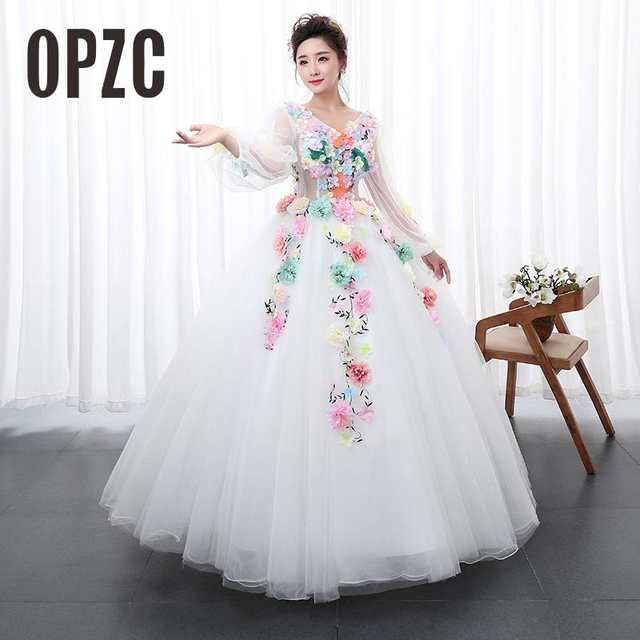 placeholder White Princess multicolor Flowers Paty dress Solo Stage Colored  Yarn Dress Evening Female Art Exam Performance 3b034076e0bd