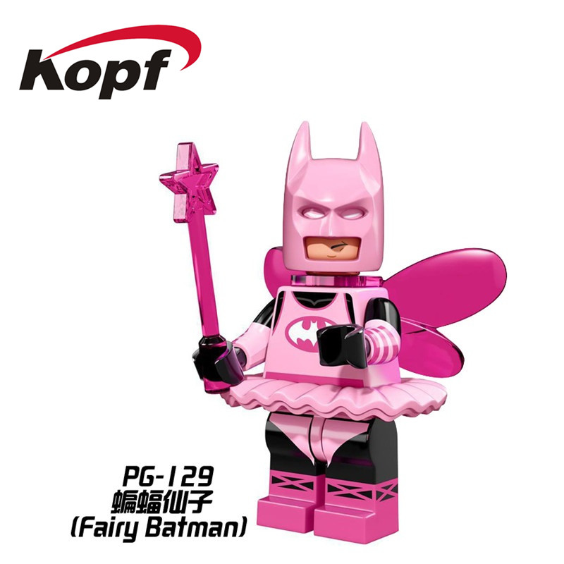 Single Sale Super Heroes Fairy Batman Pink Power Batgirl Red Hood Mime Model Building Blocks Children Collection Gift Toys PG129
