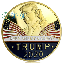 50Pcs Trump 2020 Commemorative Coins Gold Plated United States Presidential Challenge Coin for Collection Souvenir Gifts
