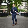 Синий пиджак мужчины 3 Шт. slim fit блейзер мужчины костюм chaleco hombre мужские костюмы свадьба жених