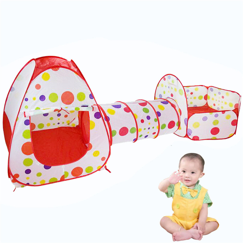 Kids Outdoor Indoor Tunnel Chilren Play House Foldable Pool-Tube-Teepee Pop-up Play Tent Baby Toy Tent