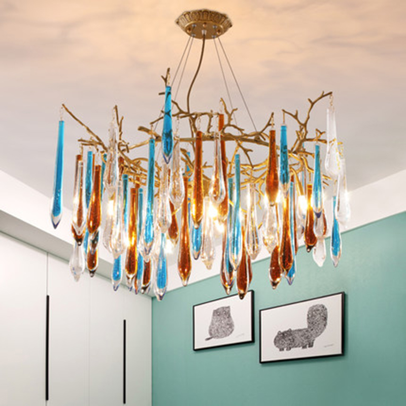 Nordic style Creative colorful glass Chandeliers Art Deco copper lamps living room dinning room bedroom glass Chandelier lightsNordic style Creative colorful glass Chandeliers Art Deco copper lamps living room dinning room bedroom glass Chandelier lights