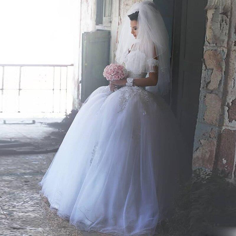 2016 Arabic Fashion Ball Gown Wedding Dresses Beaded