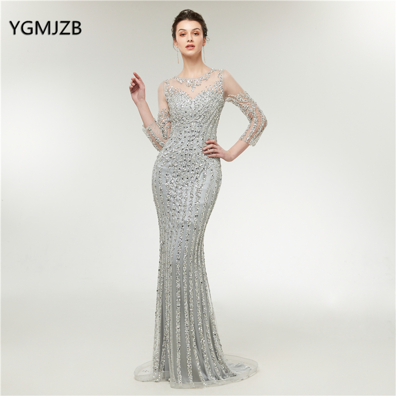 Robe De Soiree 2018 Luxury   Evening     Dresses   Long Sleeves Mermaid Silver Beaded Crystal Formal Prom   Evening   Gown Abendkleider