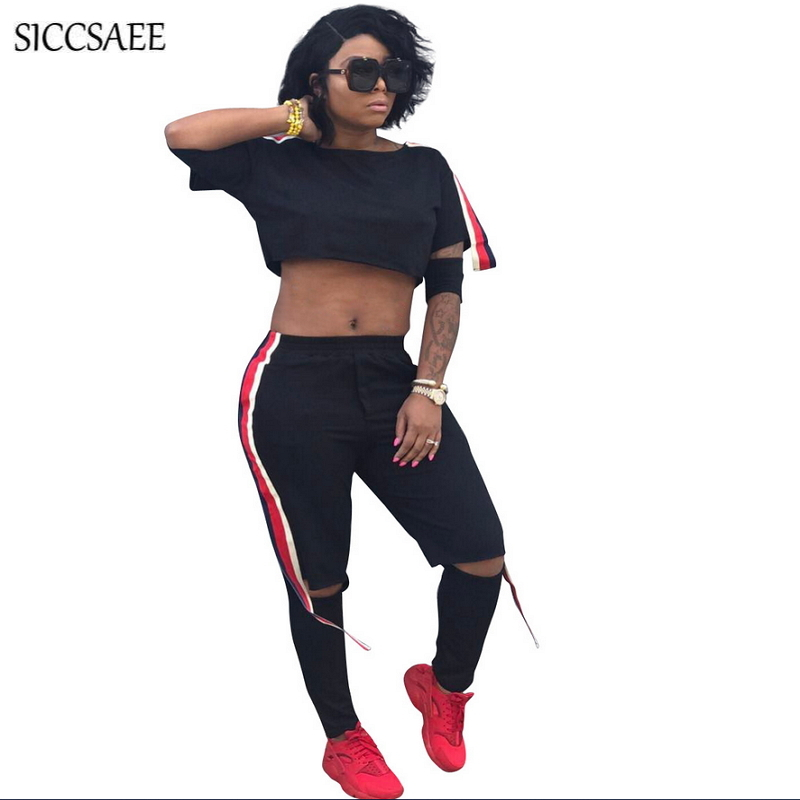Striped Ribbons Patchwork Black Two Piece Set Women Hoodies Crop Top Pants Suits Casual Outfits Hole Streetwear Fringe Bodysuit