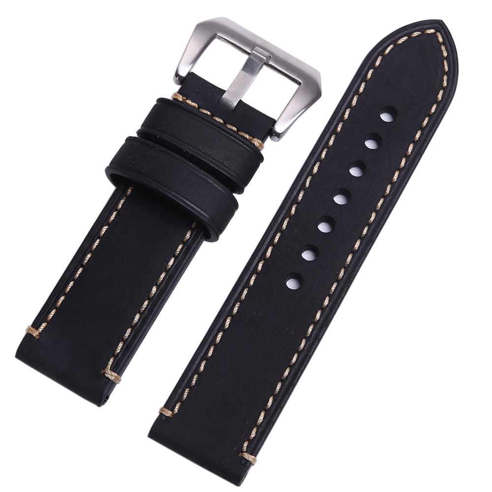 Prix pour P style Hand made Haute Qualité Fine Importés Bracelet En Cuir Italien et Bande 20mm 22mm 24mm avec Boucle En Acier Inoxydable