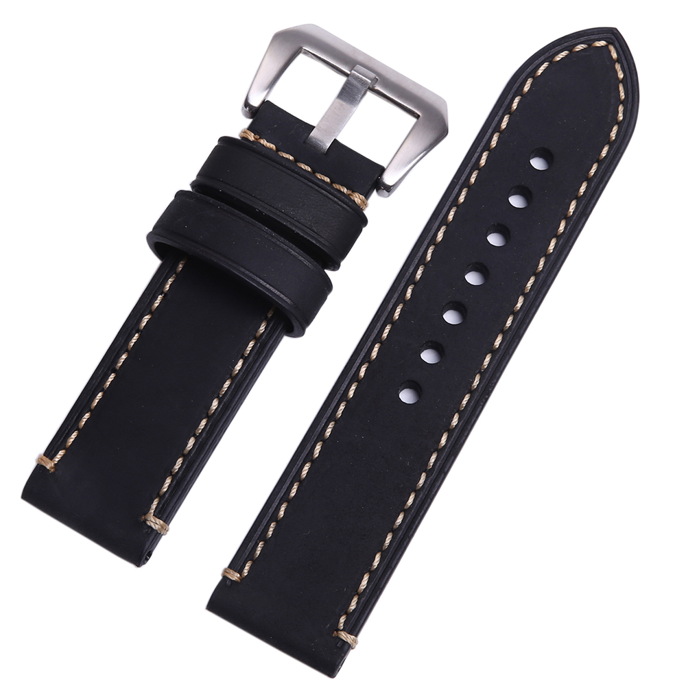 P style Hand made High Quality Fine Imported Italian Leather Watch Strap &Band 20mm  22mm 24mm With Stainless Steel Buckle baby stroller ultra portable umbrella car baby winter summer hand can sit and lie folding child baby car suspension