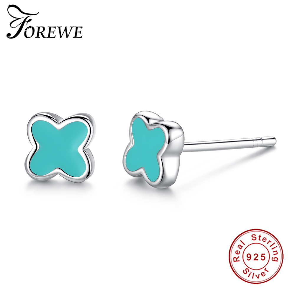 FOREWE Classic 925 Sterling Silver Earrings With Blue Enamel 925 Cross Jewelry for Women Girls Silver Earrings Christmas Gift