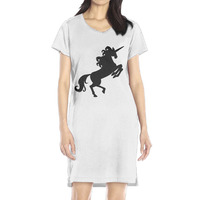 New Summer Autumn Fashion Women Casual Cute Short Sleeve Print Black Unicorn Horse Dresses Loose Plus