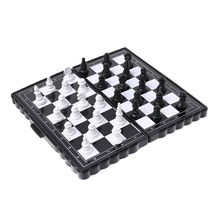1set Mini Portable Chess Folding Magnetic Plastic Chessboard Board Game Kid Toy