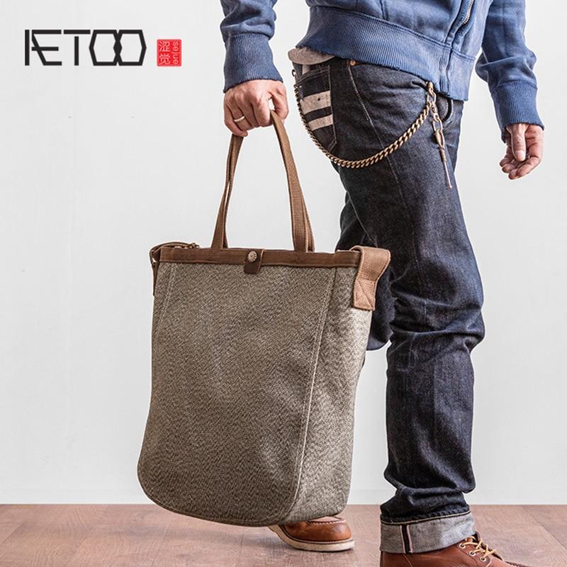 AETOO Pepper Salt Vintage tot bag men s large capacity handbag shoulder crossbody bag