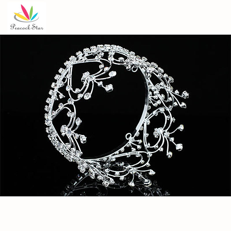 Павлин звезды Свадебные Принцесса для девочек в цветочек сердце кристалл полный круг вокруг мини-тиара Корона ct1598