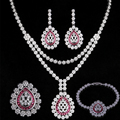 Promoción En Capas Waterdrop Cristalino de La Joyería Nupcial Conjunto Con Aretes Collar Pulsera Juegos de Anillos para Las Mujeres