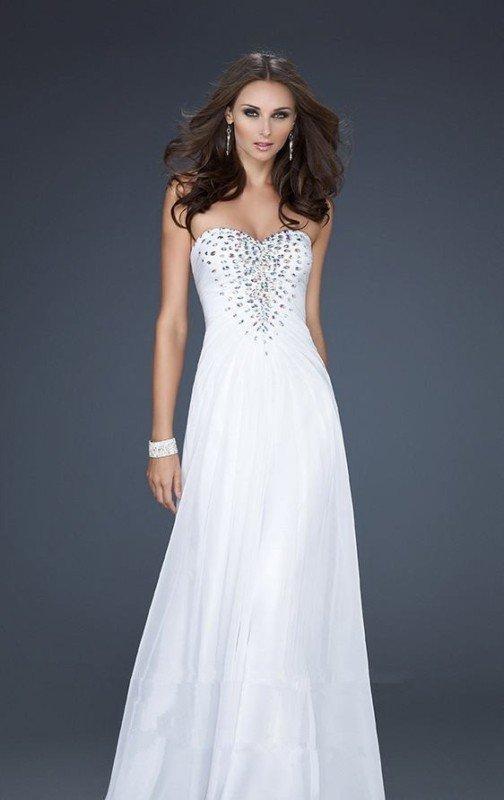 White Strapless Formal Dresses