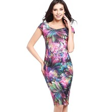 Hot Sale Fashion Square Collar Sexy Feathered Printed Summer Dress Sexy S-XXXL Plus-Size Package Buttocks Dress Pencil Dress