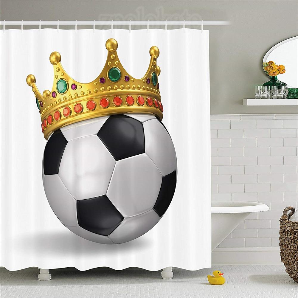 Sports Theme Bathroom Shower Curtain Football in net Waterproof Fabric /& Hooks