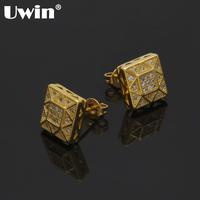 Uwin Fashion Clear Cubic Zircon Stud Earring Women Men Geometric Shape Earring Fashion Party Wedding Jewelry